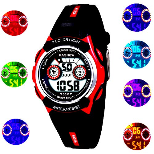Kids, Boys, Girls,Waterproof Digital Led Sports Alarm for Childrens Age 4-12 Years Old Watches (red)