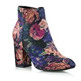 ESSEX GLAM Womens Casual Floral Block Mid High Heel Smart Ankle Boots 10 B(M) US