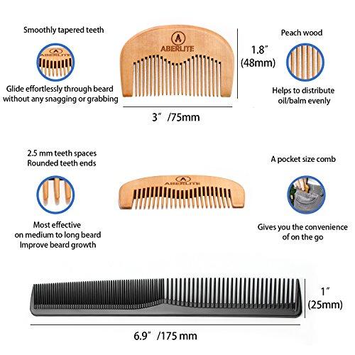 Beard Scissors Kit for Men (5 pcs) | 5'' Professional Beard/Hair Scissors (Japanese Stainless Steel), Travel Size Precision Beard/Mustache Scissor, Pocket Wood Comb, Master Barber Comb, and PU Case Set by Aberlite (Image #6)