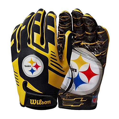 Wilson NFL Stretch Fit Football Gloves - Pittsburgh-Youth