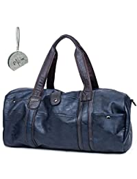Micom Vintage Pu Leather Travel Tote Large Duffle Bags for Men,boys (Navy Blue)