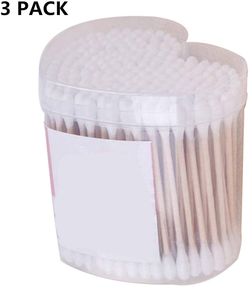 HYR88 3 Pack Wattest/äbchen Papierstiel Wattest/äbchen Umweltfreundlich Biologisch abbaubar f/ür Make-up Saubere Pflege Ohrenreinigung Wundpflege Kosmetikwerkzeug Doppelkopf