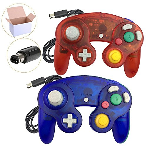 Koalud Classic Wired Gamepad Controllers for Wii Game Cube Gamecube console (Clear red and Clear blue)