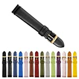 Thirteen.02 Gold 18mm Genuine Leather Womens Easy Interchangeable Watch Band Strap - Black