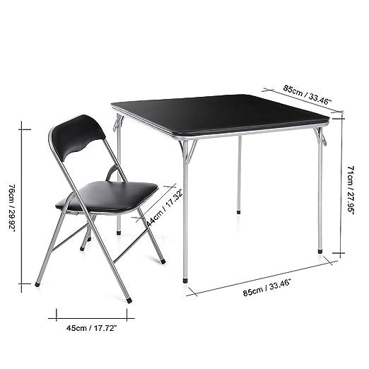 IKAYAA - Conjunto de Muebles Plegables 5pcs/Set (Mesa MAX.100kg + 4 Sillas MAX.100kg) - para Casa Jardín Comedor Oficina Reunión Fiesta Jugar