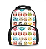 School Bookbags for Teens, Fashion Backpack College Bags Young People Daypack (Cute Owl Funny Owl Pattern)