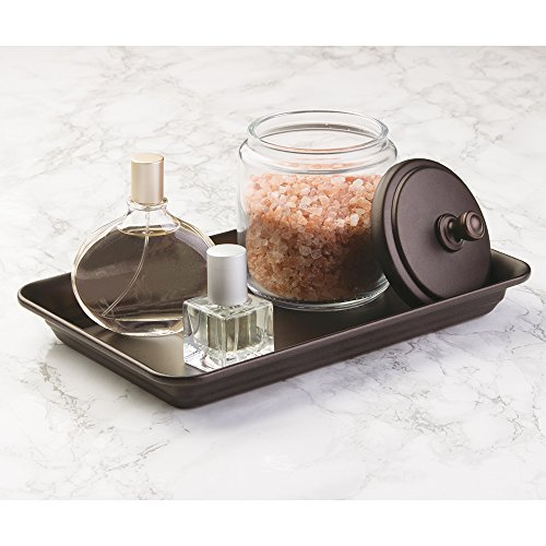MDesign Glass Apothecary Jar and Guest Towel Tray for Bathroom Vanities, 2 pc Set - Clear/Bronze