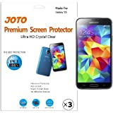 JOTO Screen Protector Film for Samsung Galaxy S5, Ultra Crystal Clear (Invisible) with Lifetime Replacement Warranty, ATT, Verizon, Sprint, T-Mobile, International and Unlocked i9600 / Galaxy SV / Galaxy S V (2014) (3 Pack)