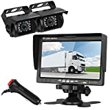 """Emmako Dual Backup Camera and 7"""" Monitor Kit For RV/SUV/Pickup Truck/Trailer/Camper/Motorhome/Bus Night Vision IP68 Waterproof Rear/Side/Front View System Guide Lines On/Off Optional Revering/Driving"""