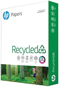 HP Paper Printer Paper 8.5x11 Recycled30 20 lb 30% postconsumer recycled 1 Ream 500 Sheets 92 Bright Made in USA FSC Certified Copy Paper Compatible 112100R, White