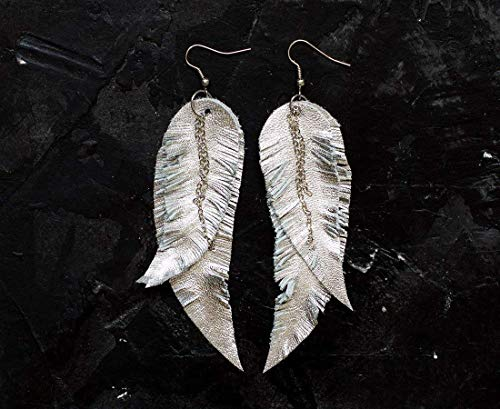 Silver grey Feather Leather Earrings, layered earrings,