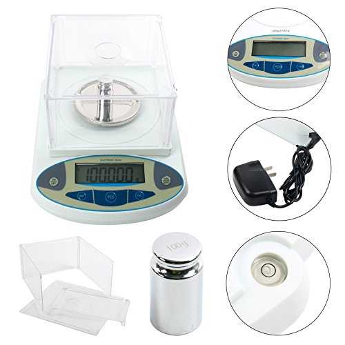 200 x0.001g 1mg Lab Analytical Balance Digital High Precision Electronic Scale Jewelry Scale (200x0.001g) ()