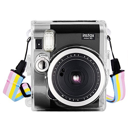 Wolven Clear Camera Case w Shoulder Strap Compatible Fugifilm Instax Mini 90 Instant Camera - Mini 90 Clear -