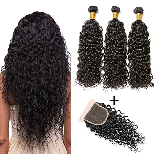 NEWNESS 3 Bundles French Wave Human Hair 9A Unprocessed Remy Hair Extensions Natural Black Color Virgin Hair with Lace Closure
