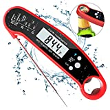 Instant Read Meat Thermometer for Grilling,Ultra Fast Waterproof Thermoworks Digital Food Thermometer with Calibration and Backlight function For Kitchen Cooking BBQ(Upgrated with Bottle Opener)