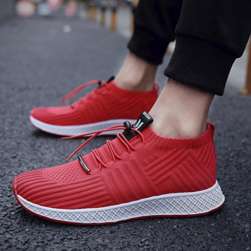 HLHN Men Running Shoes,Gym Lace-up Cross Strap Sport Mesh Round Toe Socks Shoes Breathable Casual Fashion Leisure Red
