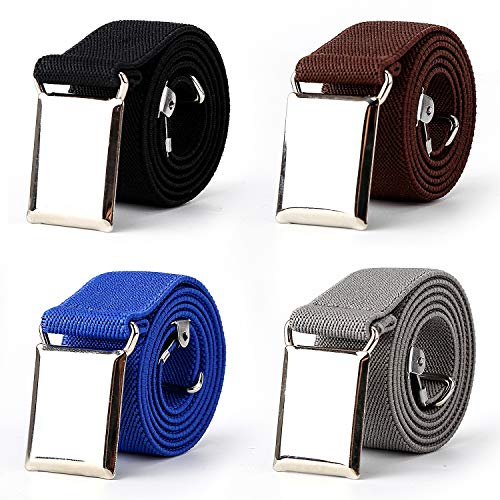 (4PCS Kids Boys Adjustable Elastic Belt with Silver Square)