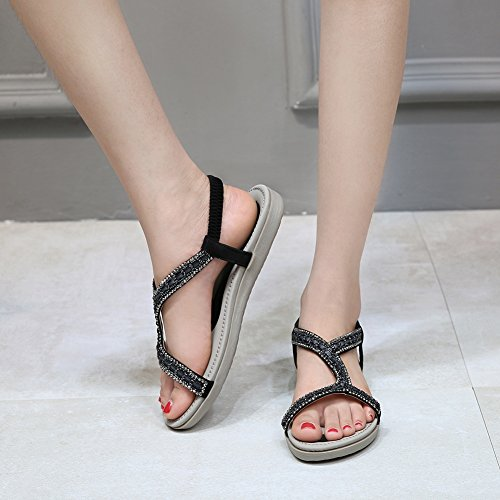 Meeshine Women's Summer Beach Flat Sandals Bohemia Beaded T-Strap Rhinestone Slip on Sandals Shoes(8 B(M) US,Black 01) by Meeshine (Image #3)