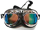 Vintage Motorcycle Goggles, Anti-UV Adjustable Motorcycle Glasses Motocross Scooter Harley Goggles Cool Bicycle Snowboard Windproof Glasses Christmas Halloween Costumes for Kids, Men and Women