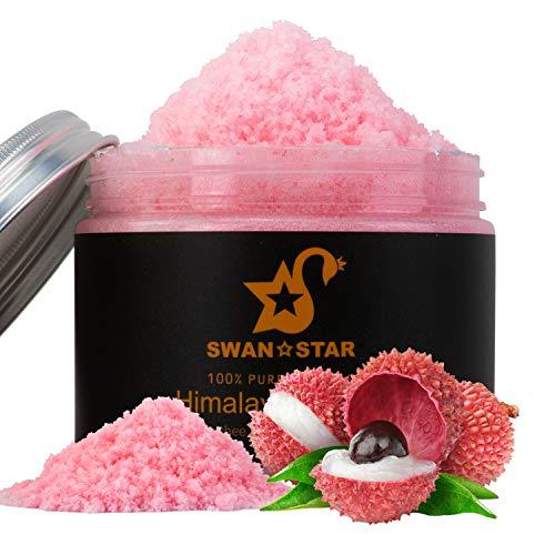 SWAN STAR Body Scrub Himalayan Pink Salt Scrub Deep Cleansing Exfoliator, 12 OZ Exfoliating Body Scrub Moisturize Skin with Natural Lychee Essential Oil (12oz)