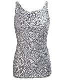 PrettyGuide Women Shimmer Glam Sequin Embellished Sparkle Tank Top Vest Tops ,Silver,Us Size -Small, Asian Size- M