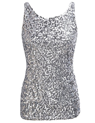 PrettyGuide Women Shimmer Glam Sequin Embellished Sparkle Tank Top Vest Tops ,Silver,Us Size -Medium, Asian Size- L