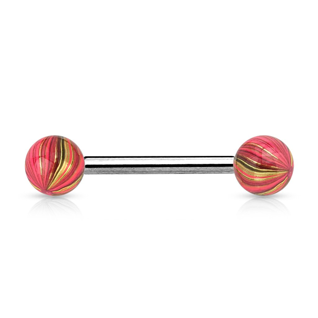 Inspiration Dezigns Pair of 14G L 5//8 Multi Color Plated Balls and Extra Clear Electric Coated Barbells
