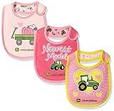 John Deere Baby Newest Model 3 Piece Bib Gift Set, Medium Pink/Magenta/Light Pink, One Size