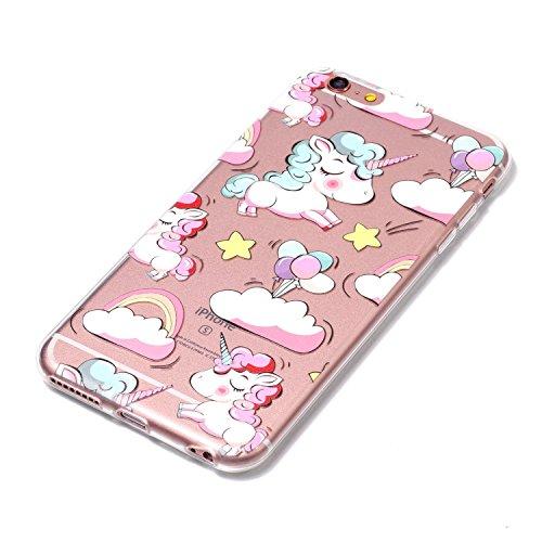 iPhone 6 Plus / 6S Plus Coque arc-en-Unicorn Premium Gel TPU Souple Silicone Transparent Clair Bumper Protection Housse Arrière Étui Pour Apple iPhone 6 Plus / 6S Plus + Deux cadeau