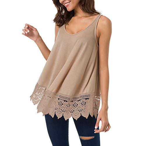 primemothersday Womens Lace Casual Sleeveless Blouse Hollow Out Vest Patchwork Tank Top ()