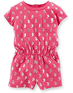 Printed Romper, Silver Accents, Pink, 6 [Apparel]