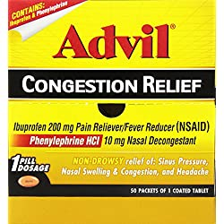 Advil Congestion Relief Pain Reliever / Fever Reducer Coated Tablet, 200mg Ibuprofen, Nasal Decongestant, Sinus Pressure (50 Count)