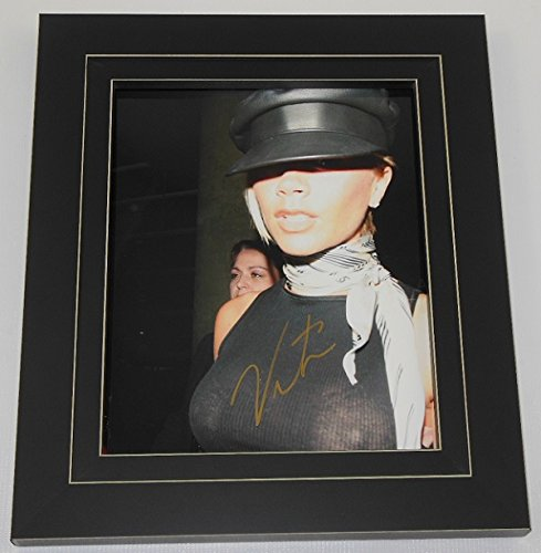 Spice Girls Spiceworld Sexy Victoria Beckham Hand Signed Autographed 8x10 Glossy Photo Gallery Framed - Sunglasses Beckham
