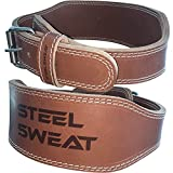 Cheap Steel Sweat Weight Lifting Belt – 4″ Wide by 10mm Thick – Single Prong Heavy Duty Adjustable Weightlifting Belt, High Grade Leather – BOSS Brown Large