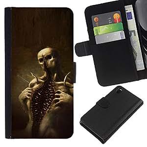 EJOY---La carpeta del tirón la caja de cuero de alta calidad de la PU Caso protector / Sony Xperia Z3 D6603 / --Cráneo Monster Scary Halloween de