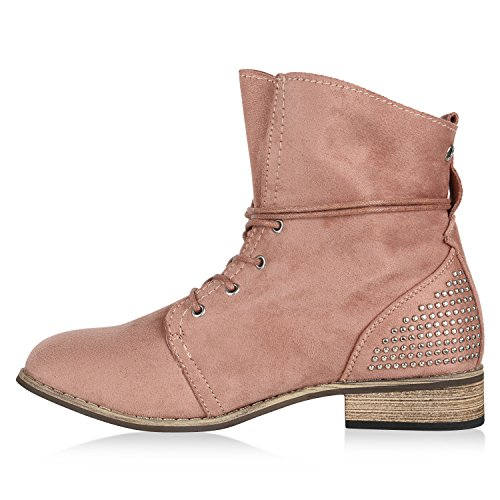 Blockabsatz Übergrößen Stiefeletten Stiefelparadies Schuhe Optik Boots Spitze Damen Schnürstiefeletten Leder Zipper Rosa Häkeloptik Booties Arriate Flandell UwaqrE7wy