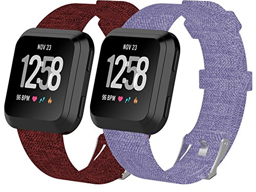 - Sunyfeel Compatible with Versa Bands, Lightweight Breathable Woven Fabric Wrist Strap for Versa Fitness Smart Watch, 2-Pack