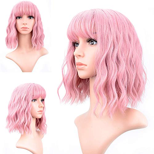 Short Bob Wigs With Air Bangs Shoulder Length Women's Short Wig Curly Wavy Synthetic Cosplay Wig Pastel Bob Wig for Girl Costume Wigs pink color ()