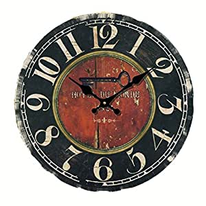 Eruner 14-inch Vintage Large *Hotel Du Monde* Decorative Wall Clock (C-20)