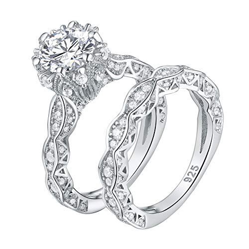 Wuziwen 4ct Cubic Zirconia Simulated Diamond Wedding Engagement Ring Sets Sterling Silver Size 8