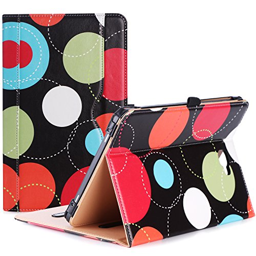 ProCase Samsung Galaxy Tab A 10.1 Case - Stand Folio Case Cover for Galaxy Tab A 10.1 Tablet SM-T580 T585 T587 (NO S Pen Version), with Multiple Viewing Angles, Document Card Pocket - Circles