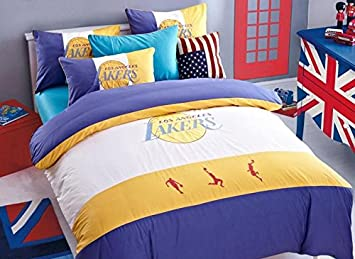 los angeles lakers basketball bordado regalo conjuntos de ropa de cama algodn ropa de