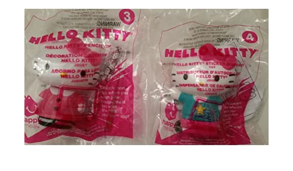 Amazon.com: Mcdonalds 2015 Hello Kitty #3 pencil top & #4 sticker dispenser: Toys & Games