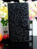Diamond Veins Luxury PU Leather Flip Stand With Card Slot Wallet Case Cover For Vodafone Smart 4 Mini (Black)