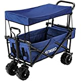 ENKEEO Foldable Utility Wagon Collapsible Sports Outdoor Cart with Removable Canopy, Large Capacity and Tilting Handle for Camping Beach Sporting Events Concerts, Blue