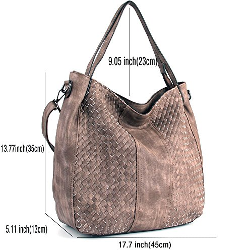 Fashion Bags Hobo Handle Top Satchel WISHESGEM Shoulder Handbags Bags Women Leather Light Coffee Tote PU 0xwqZ0fIX