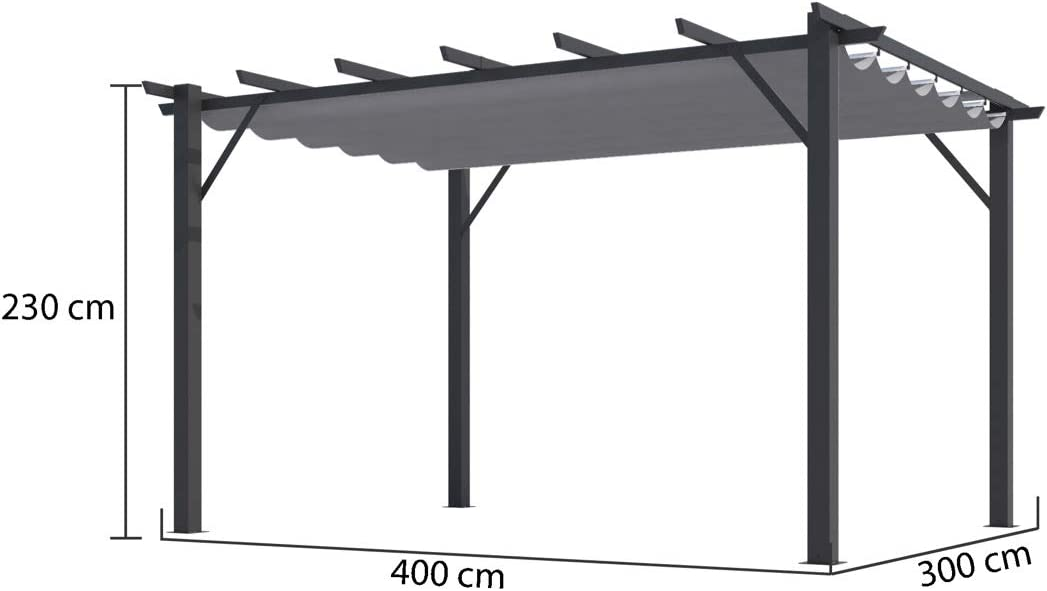 Habrita - Pérgola 100% aluminio color gris 4, 00 x 3, 00 x 2, 30 m - 12 m2: Amazon.es: Jardín