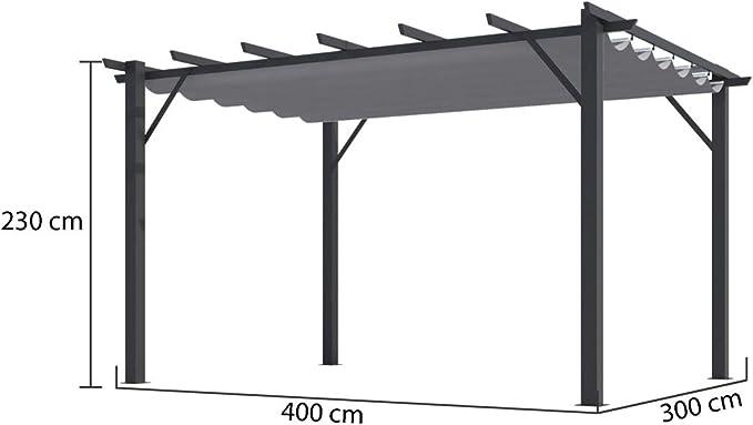Habrita - Pérgola 100% aluminio color gris 4, 00 x 3, 00 x 2 ...