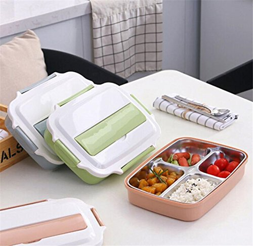 Modalee Lunch Box 304 Stainless Steel Compartment Box Heat Insulation Partition Plate Heating Box Heat Insulation Double Layer