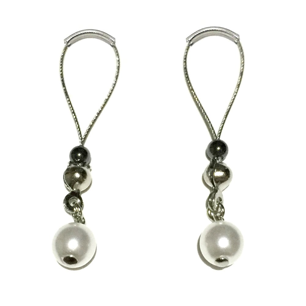 BoDivas Nipple Jewelry Noose Rings Czech Pearl Silky White Hematite Adjuster Non Piercing Nipplerings by BoDivas